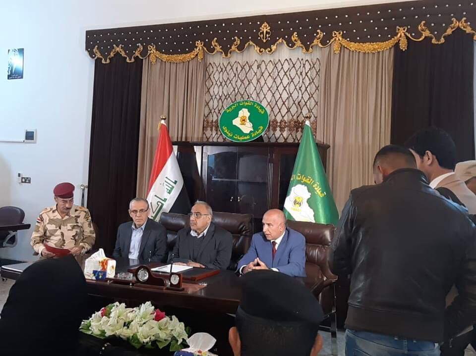 رئيس مجلس الوزراء يصل الى مدينة الموصل برفقة وزير الصحة والبيئة