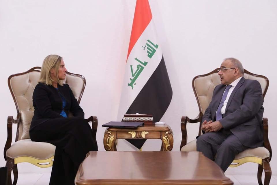 رئيس مجلس الوزراء السيد عادل عبد المهدي يستقبل الممثل الأعلى للسياسة الخارجية في الاتحاد الاوربي السيدة فيديريكا موغريني