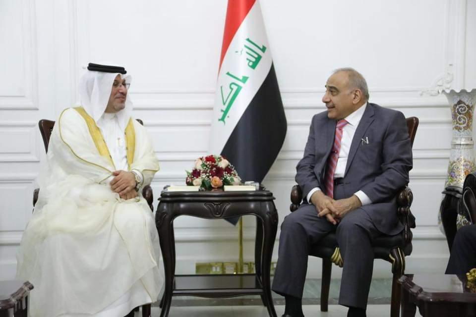 رئيس مجلس الوزراء السيد عادل عبدالمهدي يستقبل سفير مملكة البحرين في بغداد